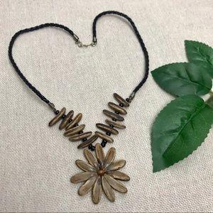 Boho Tribal Hippie Flower Pendant Necklace